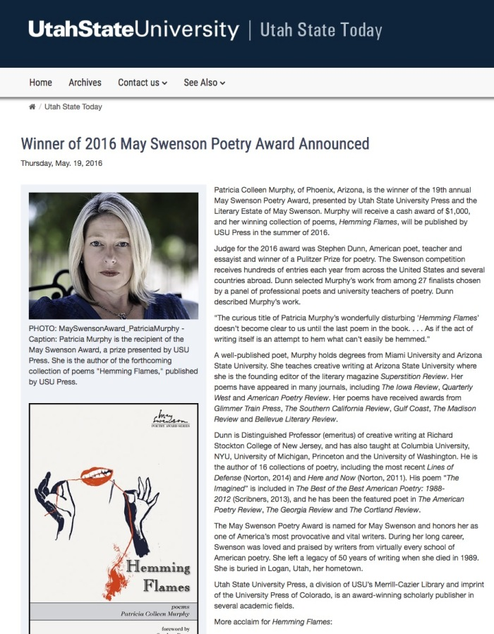 Utah State University announces 2016 May Swenson Poetry Award